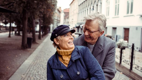 Close up of a mature couple having a walk in the city