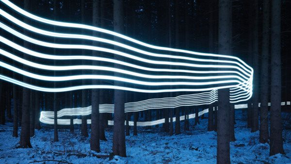 Abstract light trails through the woods - the way forward